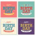 Vintage card - Happy birthday set vector image
