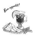Bon appetit card with apple pie mug of mulled vector image