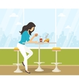 Young woman working with laptop in student cafe vector image vector image