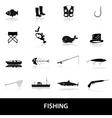 fishing icons set eps10 vector image