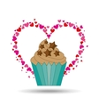 heart cartoon cupcake chip star chocolate icon vector image