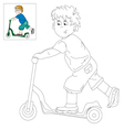 Picture for coloring boy on the scooter vector image