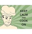 pop art man in cooker uniform vector image