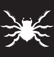 white spider on a black background vector image