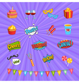 Carnival Comic Elements Set vector image