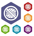 Stop fast food icons set vector image