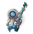 white robot with guitar isolated on white vector image vector image