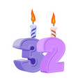 32 years birthday number with festive candle for vector image
