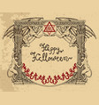 halloween frame with demons and gothic symbols vector image
