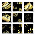 set of gold ink brushes grunge square patterns vector image