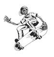 skeleton playing skateboard vector image