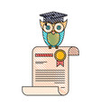 color crayon stripe image of owl knowledge in vector image