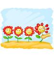 cartoon flowers in the meadow vector image