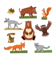Wild Forest Animals Flat Style Set vector image