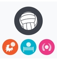 Volleyball and net icons Winner laurel wreath vector image