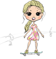 baby girl riding a skateboard vector image
