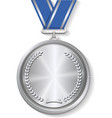 Champion silver medal with ribbon on white vector image