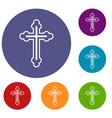 crucifix icons set vector image
