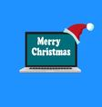 laptop is in the Santa hat vector image