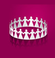 paper women holding hands in the shape of a circle vector image