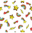 seamless pattern with cute smiling stars doodle vector image