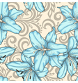 seamless pattern with lilies flowers and swirls vector image