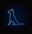 sitting dog line blue icon vector image