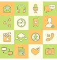Social network icons flat line vector image