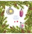 Watercolor Christmas vintage invitation card vector image