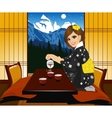 woman in kimono pouring tea vector image