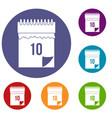 10 date calendar icons set vector image