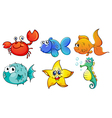 The different sea creatures vector image vector image