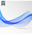 abstract blue smooth wave on transparent vector image