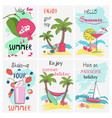summer holidays vacation poster set greeting and vector image vector image
