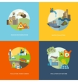 Pollution Icons Flat vector image