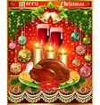 card for christmas turkey wine candles and Christm vector image vector image