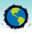 Save the world theme with earth and buildings vector image