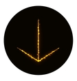 Arrow icon silhouette of gold lights vector image