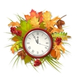 Autumn Fall Leaves and Clock vector image