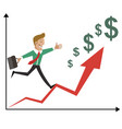 businessman with briefcase business jump up vector image