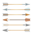 cartoon wood metal and stone arrows for bow vector image