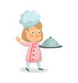 cute cartoon little girl chef character holding vector image