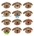 dog emojis set of emoticons icons isolated vector image