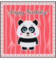 Happy Birthday Panda on a coral background vector image