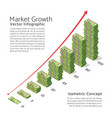 market growth background with chart and vector image