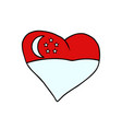 singapore isolated heart flag on white background vector image