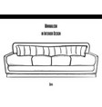 sofa with a large striped pillow in the contour on vector image