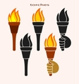 Set of burning torches vector image vector image