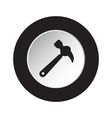 round black and white button - claw hammer icon vector image
