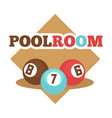 pool room isolated promotional emblem with vector image